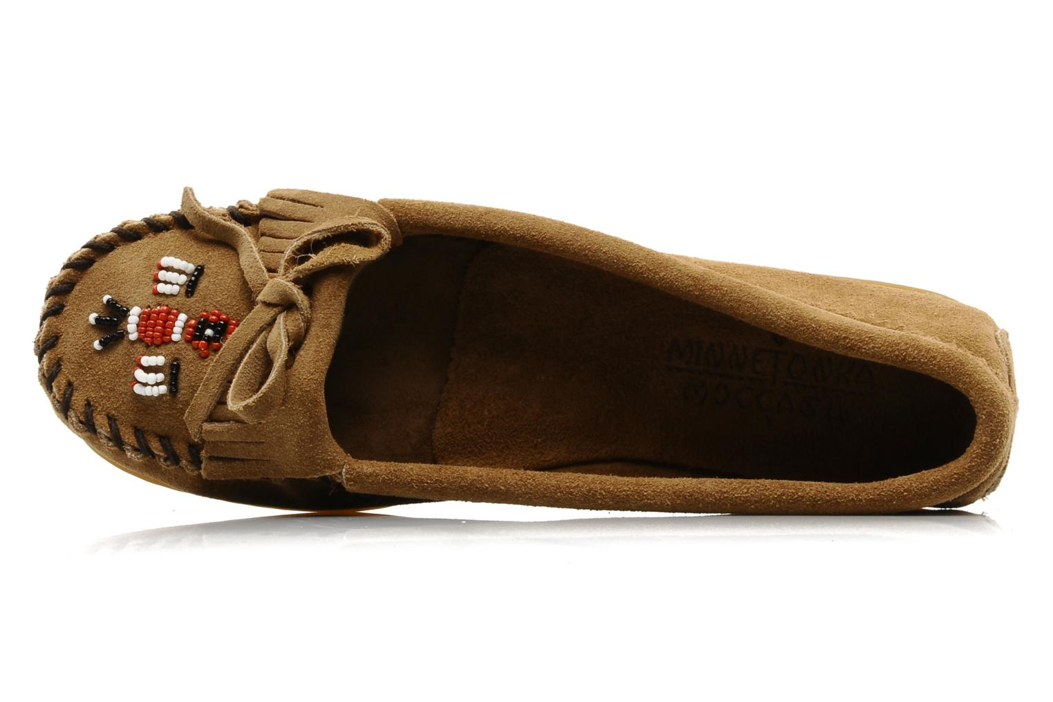 Slipper Minnetonka THUNDERBIRD 2 beige ansicht von links