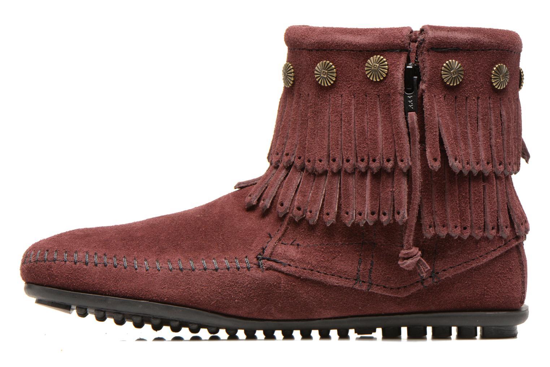 Bottines et boots Minnetonka DOUBLE FRINGE BT Bordeaux vue face