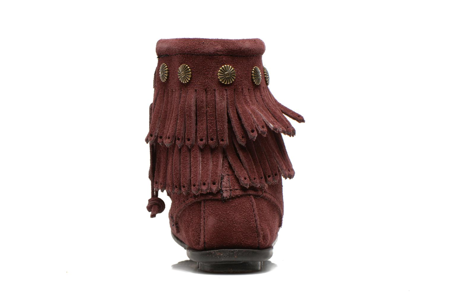 Ankle boots Minnetonka DOUBLE FRINGE BT Burgundy view from the right