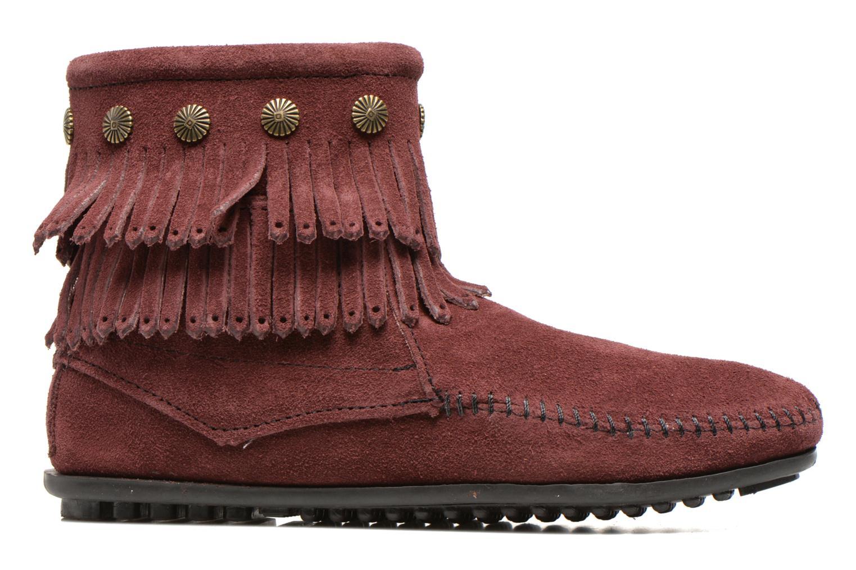 Ankle boots Minnetonka DOUBLE FRINGE BT Burgundy back view