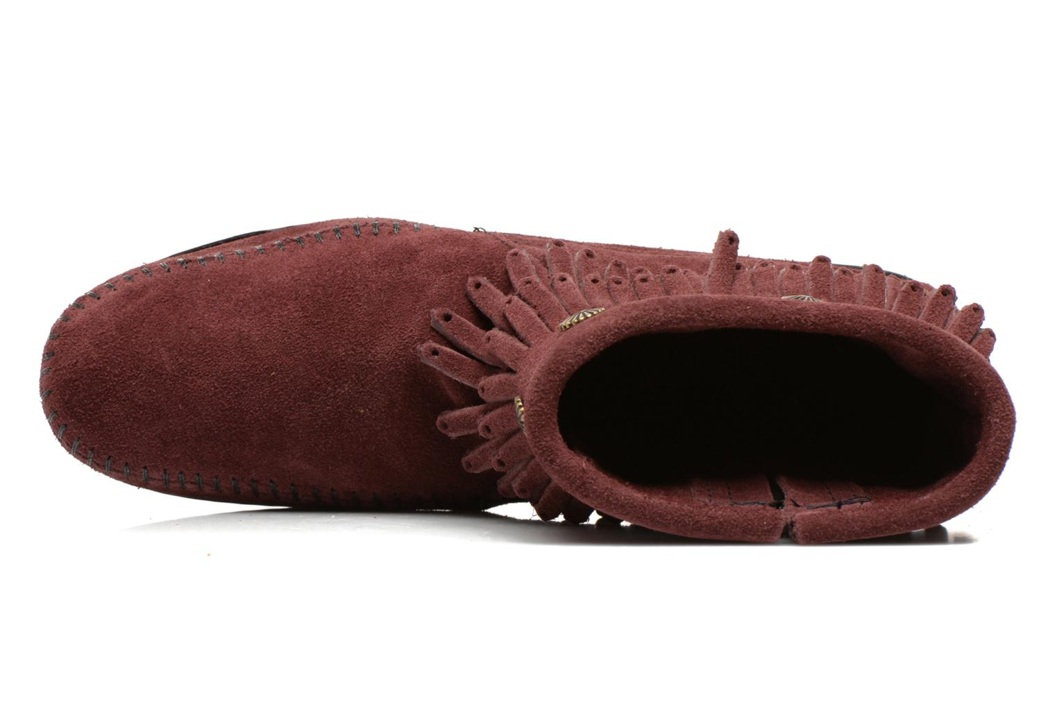 Ankle boots Minnetonka DOUBLE FRINGE BT Burgundy view from the left