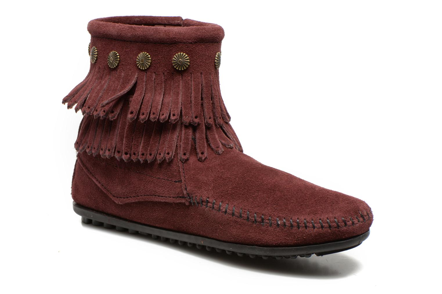 Ankle boots Minnetonka DOUBLE FRINGE BT Burgundy detailed view/ Pair view
