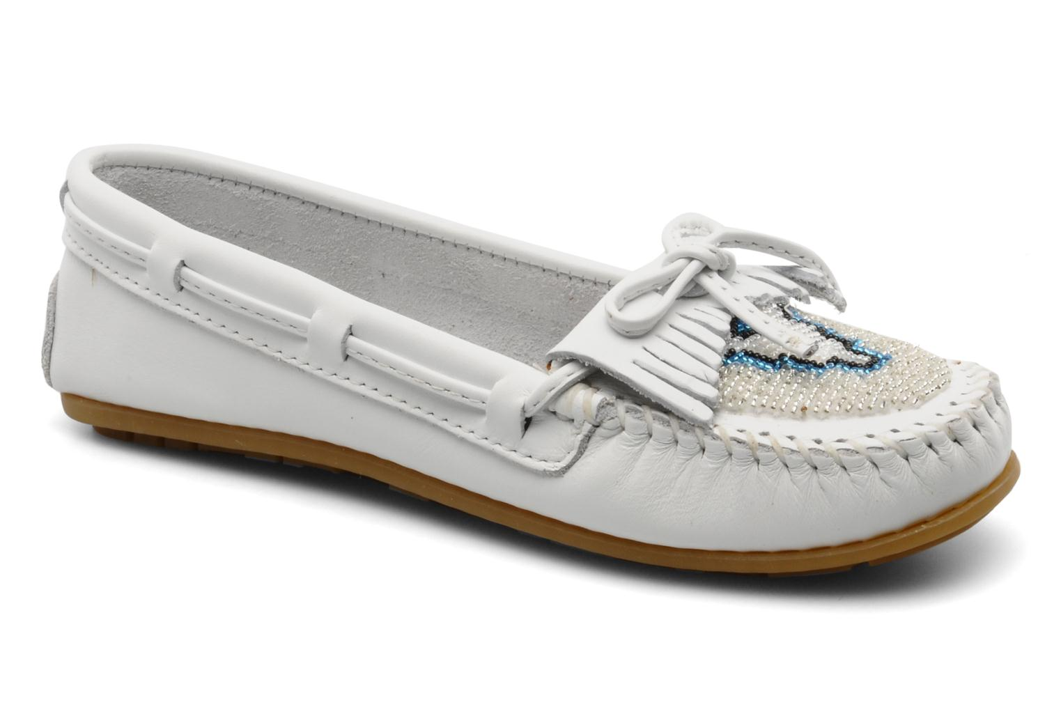 Mocassins Minnetonka KILTY BEADED Blanc vue détail/paire