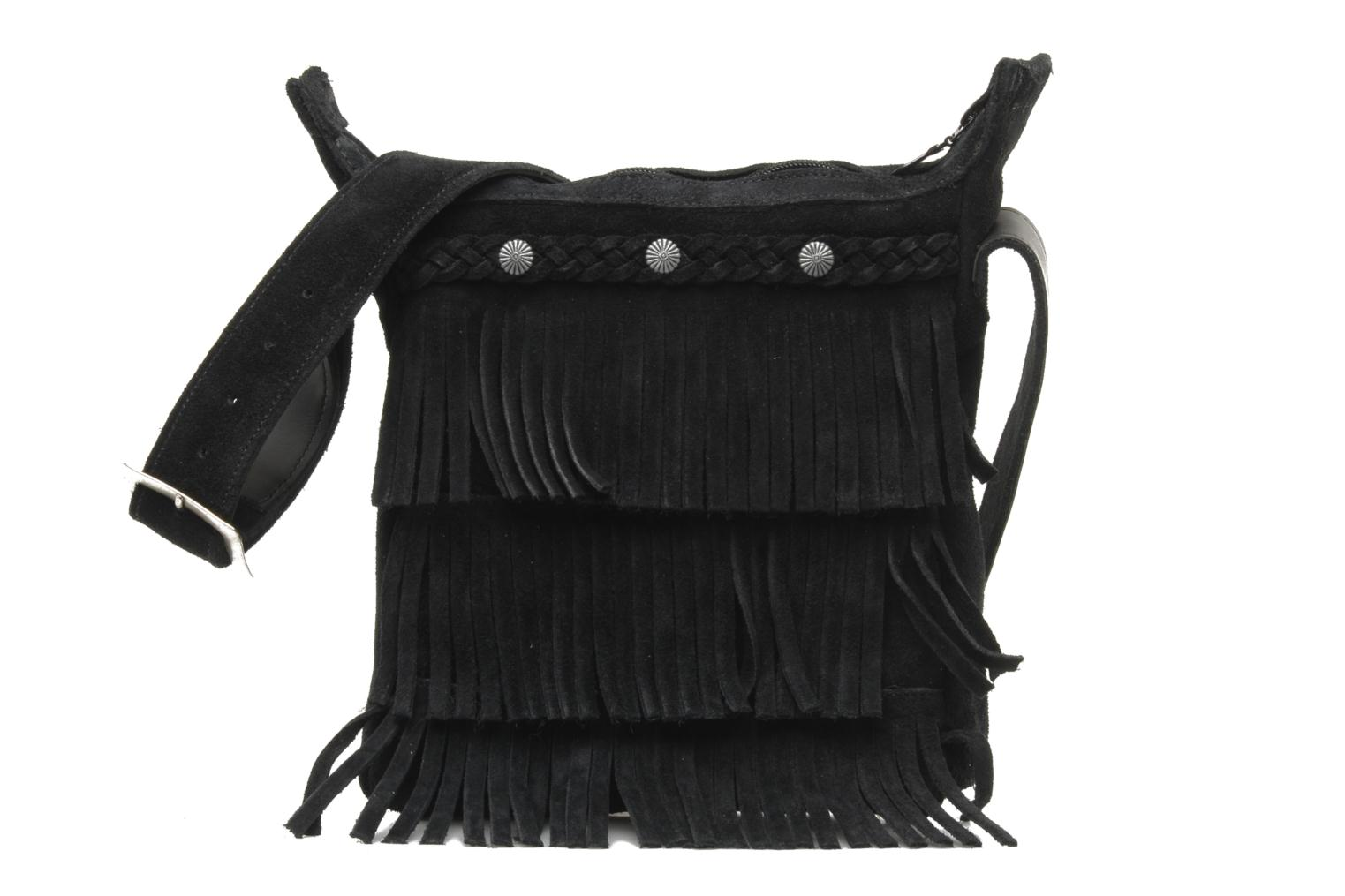 CROSS BODY FRINGE BAG Black Suede