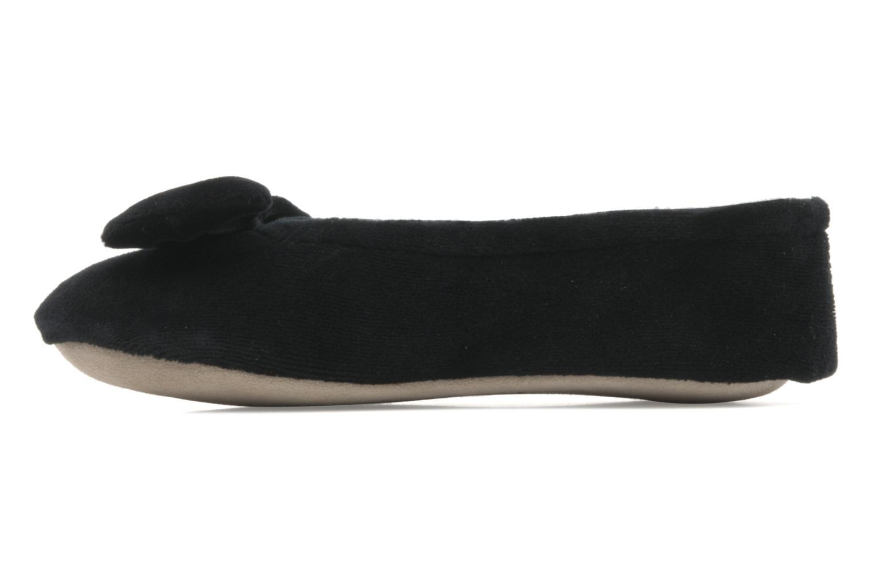 Pantoffels Isotoner Ballerine velours grand nœud F Zwart voorkant