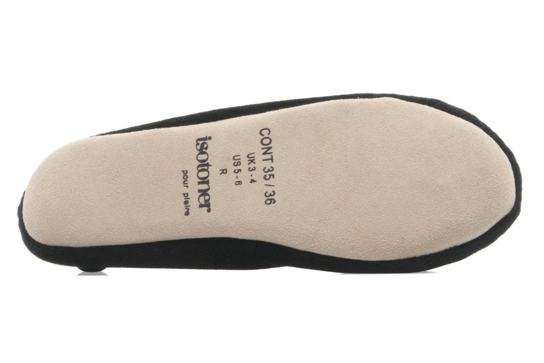 Pantoffels Isotoner Ballerine velours grand nœud F Zwart boven