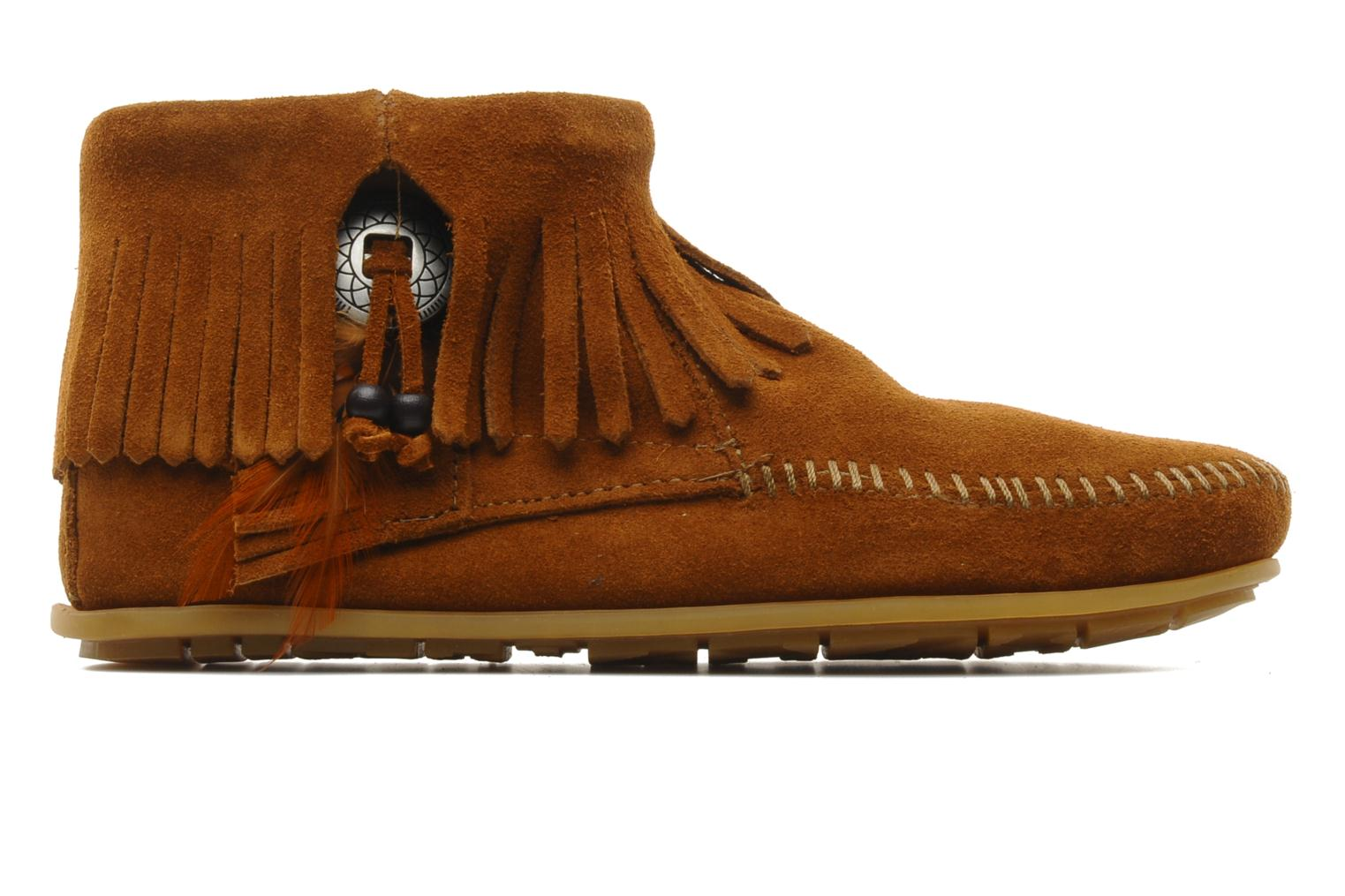 Ankle boots Minnetonka CONCHOFEATHER BT Brown back view
