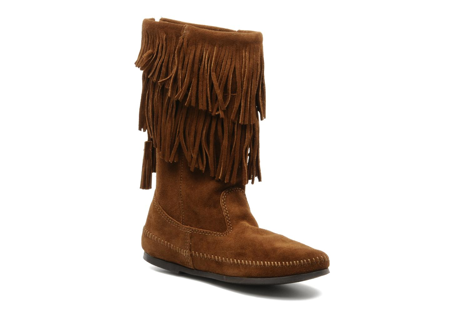 CALF HI 2LAYER FRINGE DUSTY BROWN SUEDE