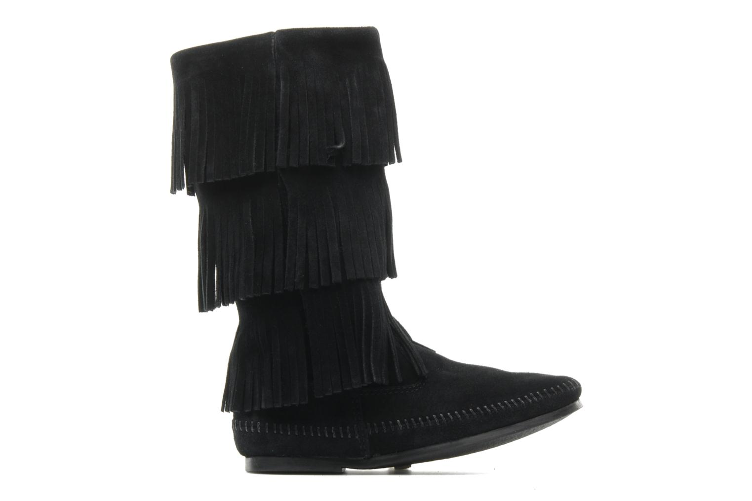 3 LAYER FRINGE BOOT Black Suede