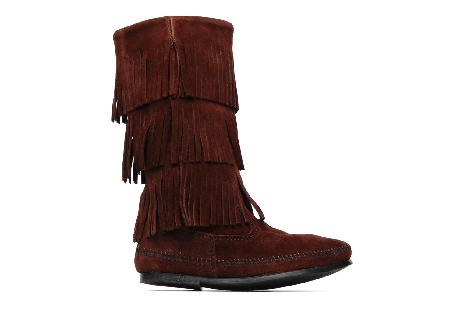 Ankle boots Minnetonka 3 LAYER FRINGE BOOT Burgundy back view