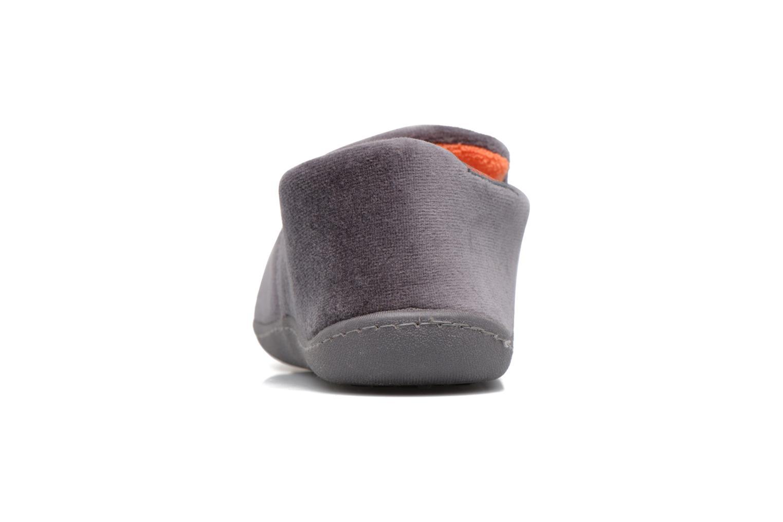 Hausschuhe Isotoner Charentaise Velours grau ansicht von rechts
