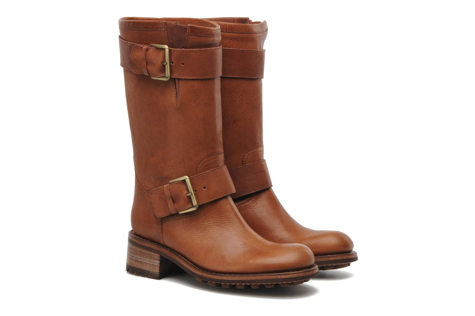 Ankle boots Free Lance Biker 4 Mid Strap Brown 3/4 view