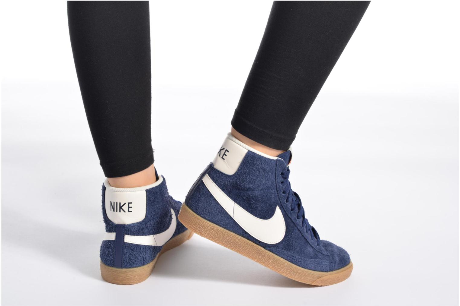Trainers Nike Wmns Blazer Mid Suede Vintage Blue view from underneath / model view