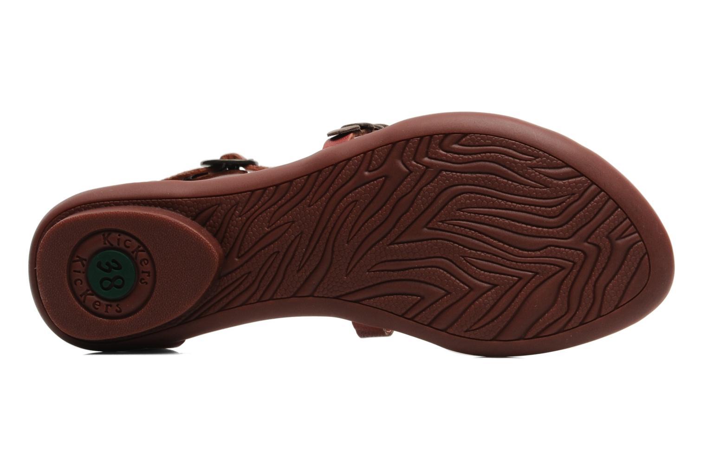 Sandales et nu-pieds Kickers ZEBRAH Rouge vue haut