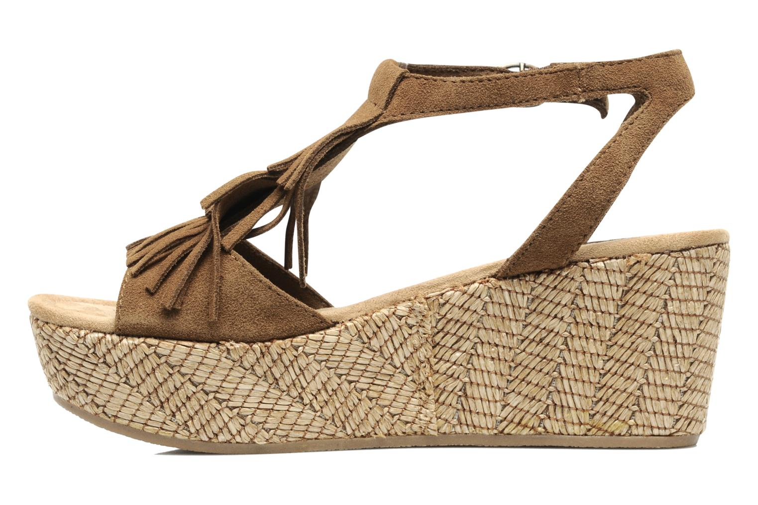 Sandals Minnetonka Central Brown front view
