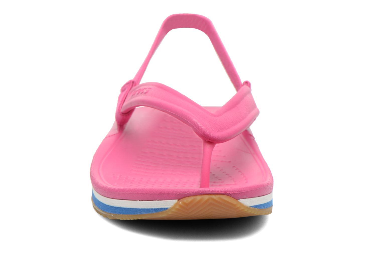 Tongs Crocs Cros Retro Flip Flop Kids Rose vue portées chaussures