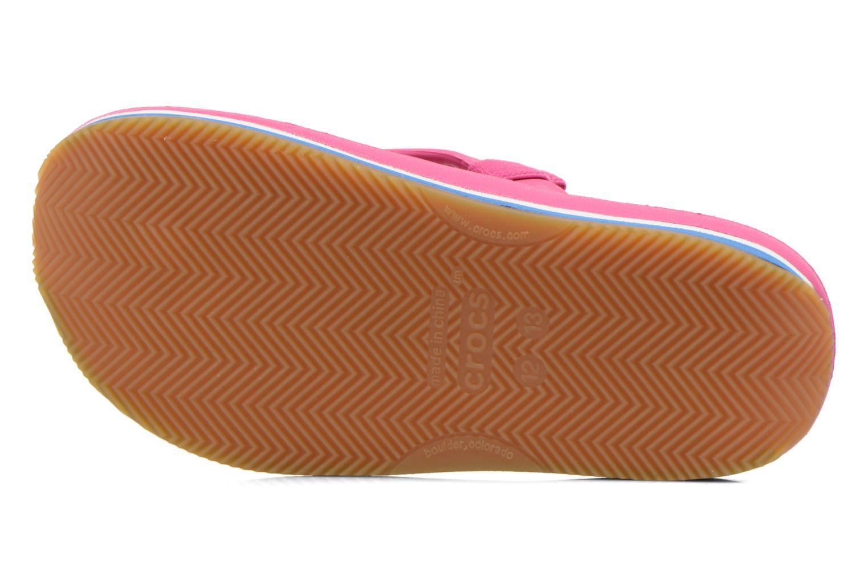 Tongs Crocs Cros Retro Flip Flop Kids Rose vue haut