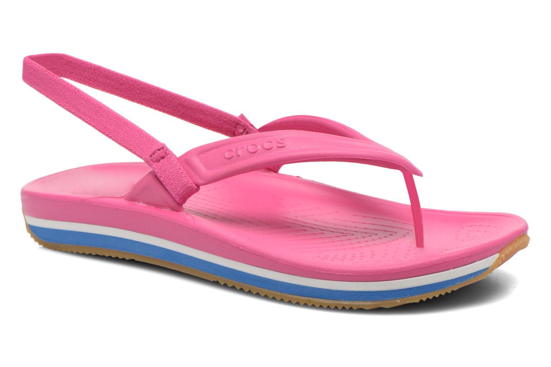 Tongs Crocs Cros Retro Flip Flop Kids Rose vue détail/paire