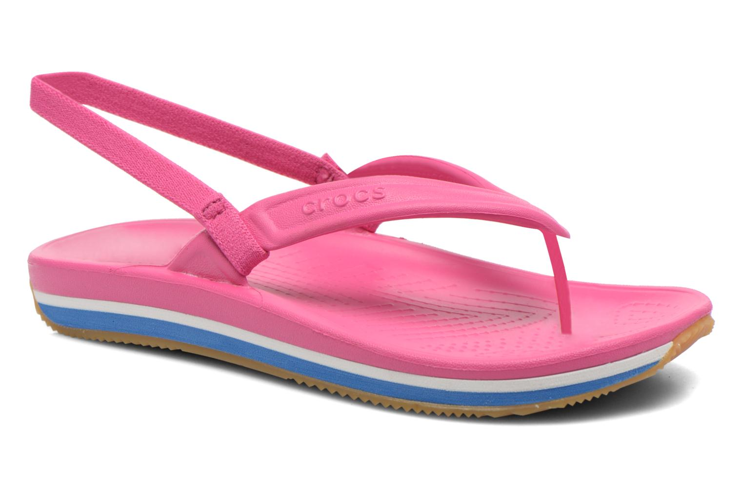 Tongs Crocs Cros Retro Flip Flop Kids Rose vue détail/paire