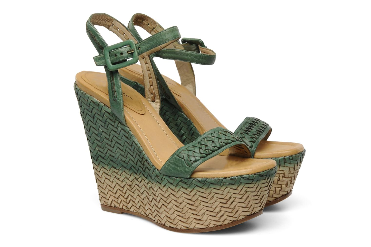 Sandals Eva Turner WAVYNI Green 3/4 view