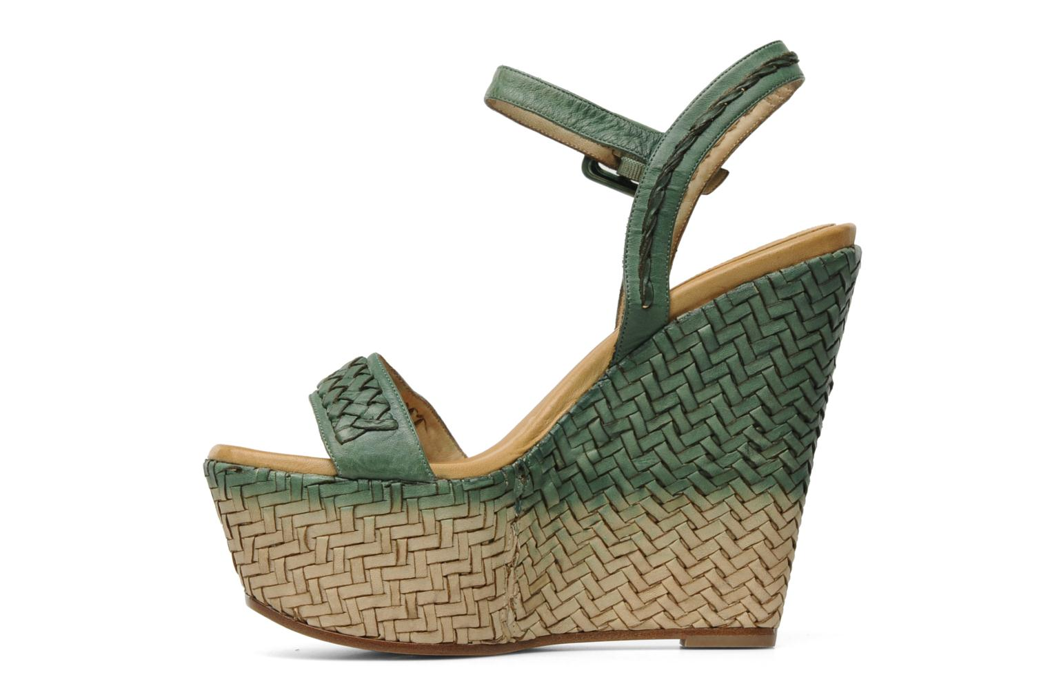 Sandals Eva Turner WAVYNI Green front view