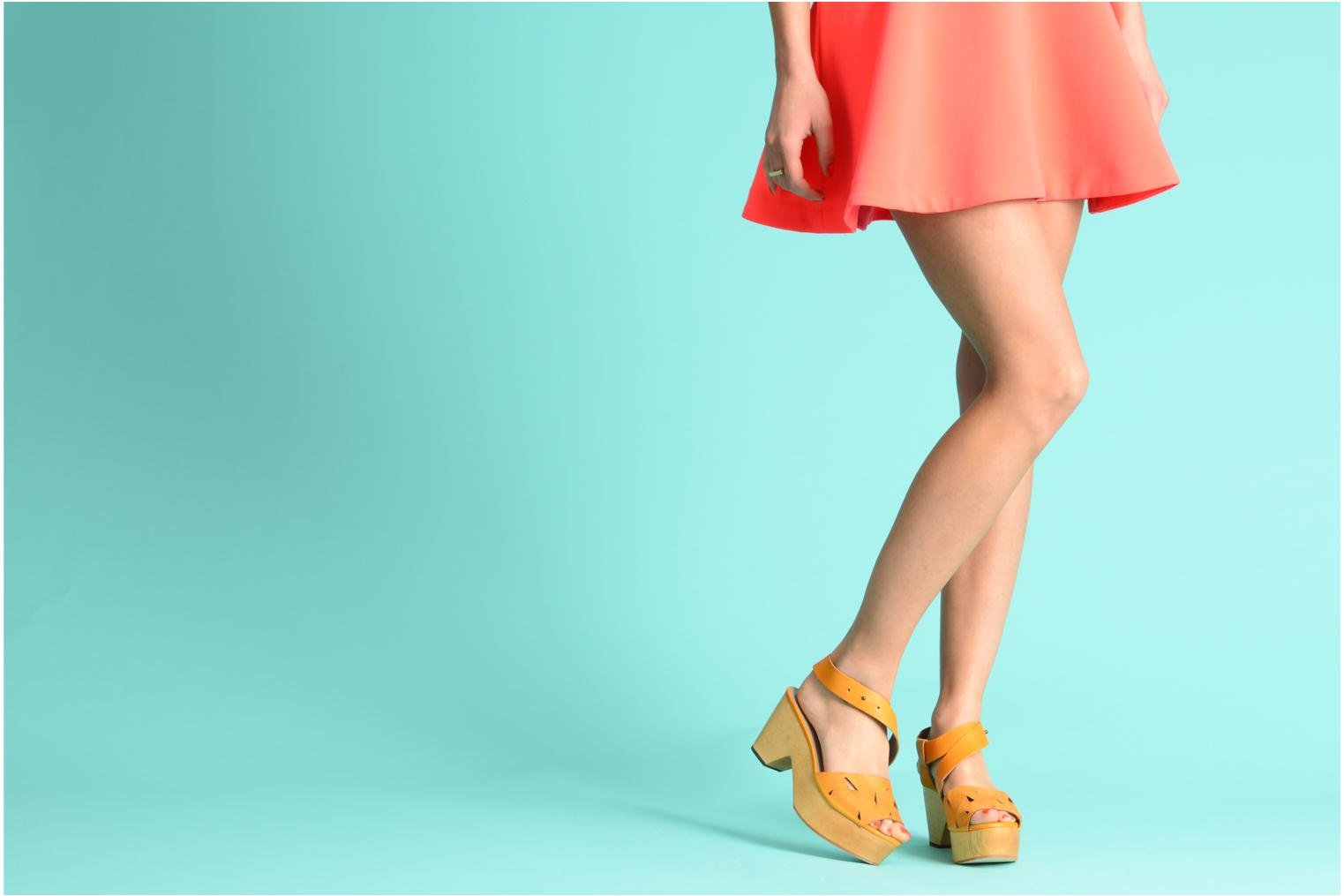 Sandals Skin by Finsk TURINA Yellow view from underneath / model view