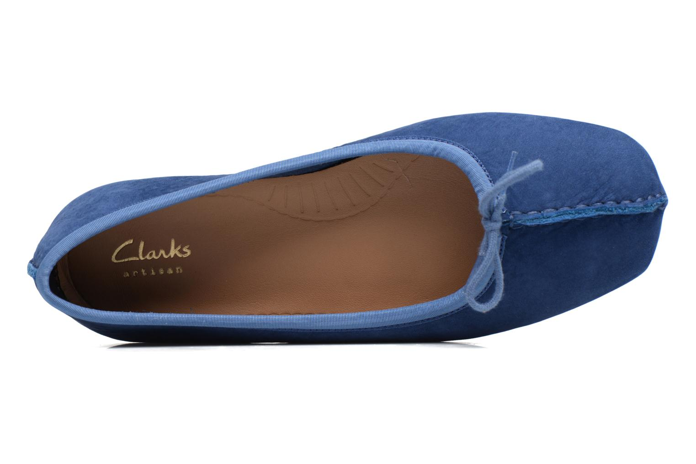 Bailarinas Clarks Unstructured Freckle Ice Azul vista lateral izquierda