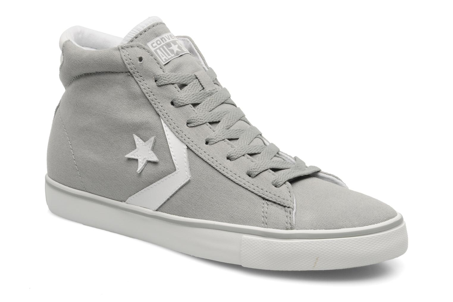 Baskets Converse Pro Leather Vulc Canvas Hi M Gris vue détail/paire