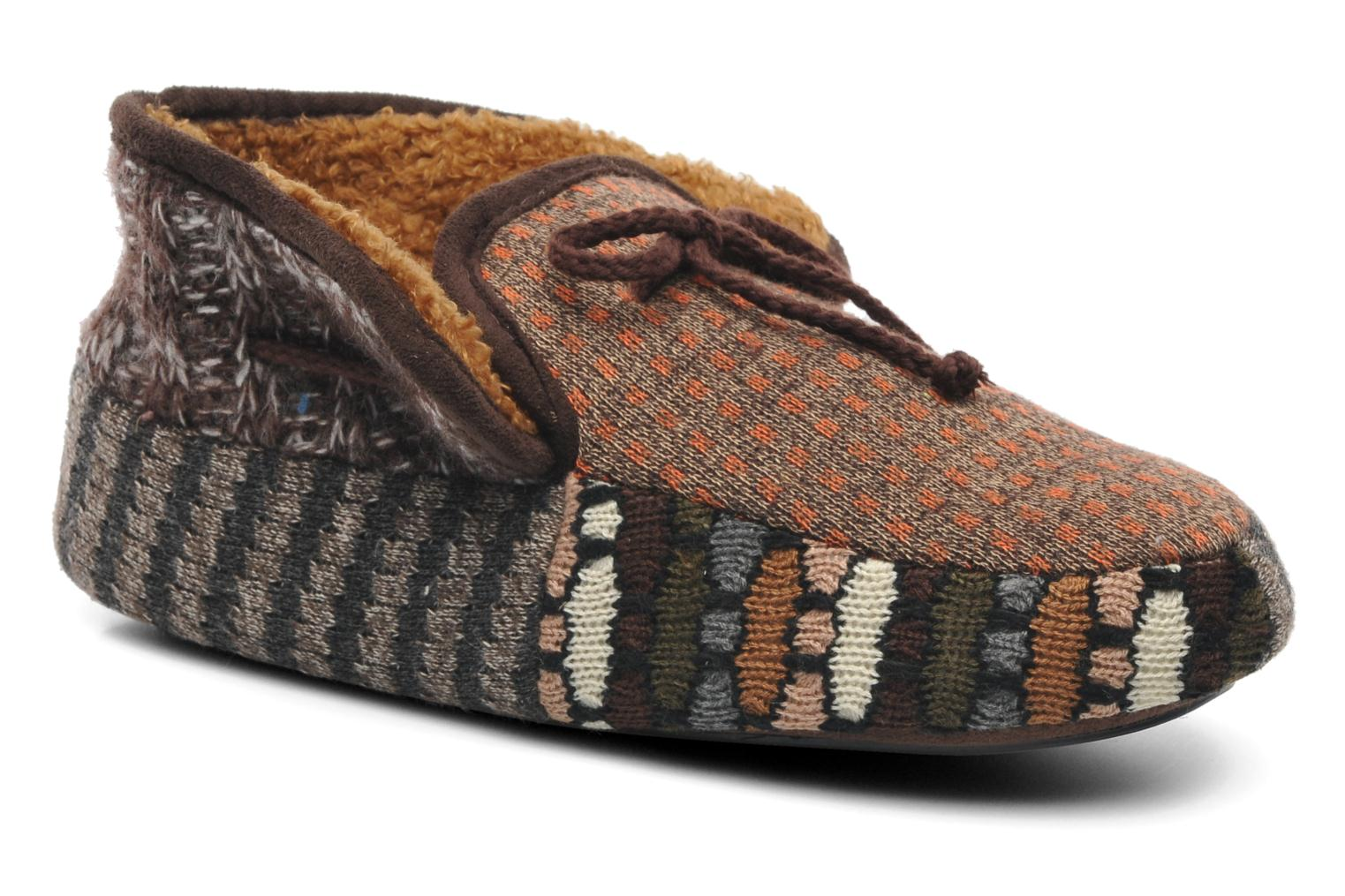 Chaussons Ruby Brown Patchwork mocassin M Multicolore vue 3/4