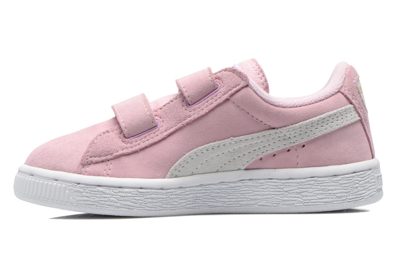 Sneakers Puma Suede 2 Straps Kids. Roze voorkant