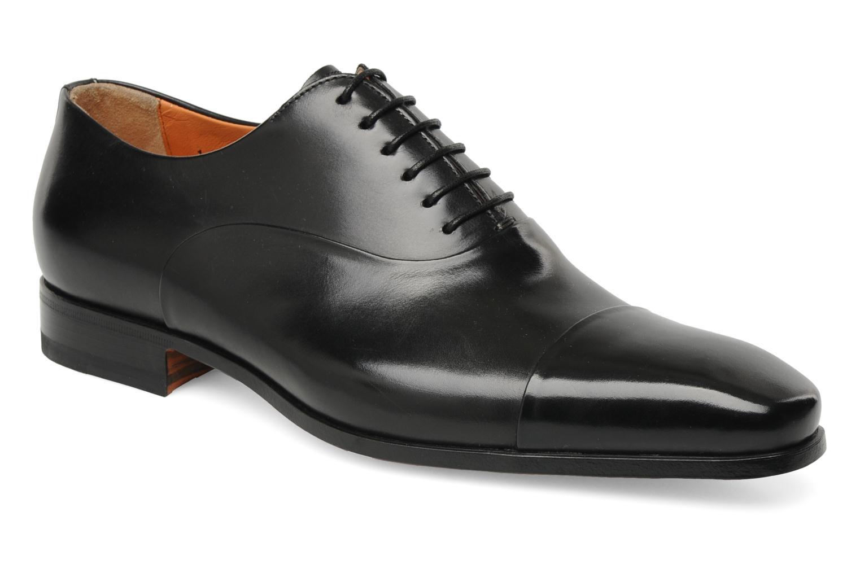 Lace-up shoes Santoni Boris 11643 Black detailed view/ Pair view