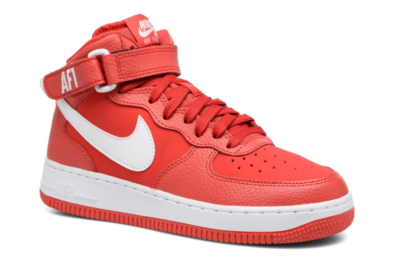 Baskets Nike Air Force 1 Mid (Gs) Rouge vue détail/paire