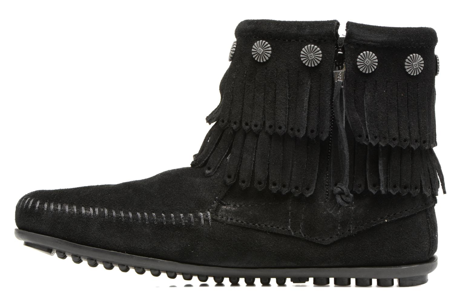 Ankle boots Minnetonka Double Fringe side zip boot Black front view