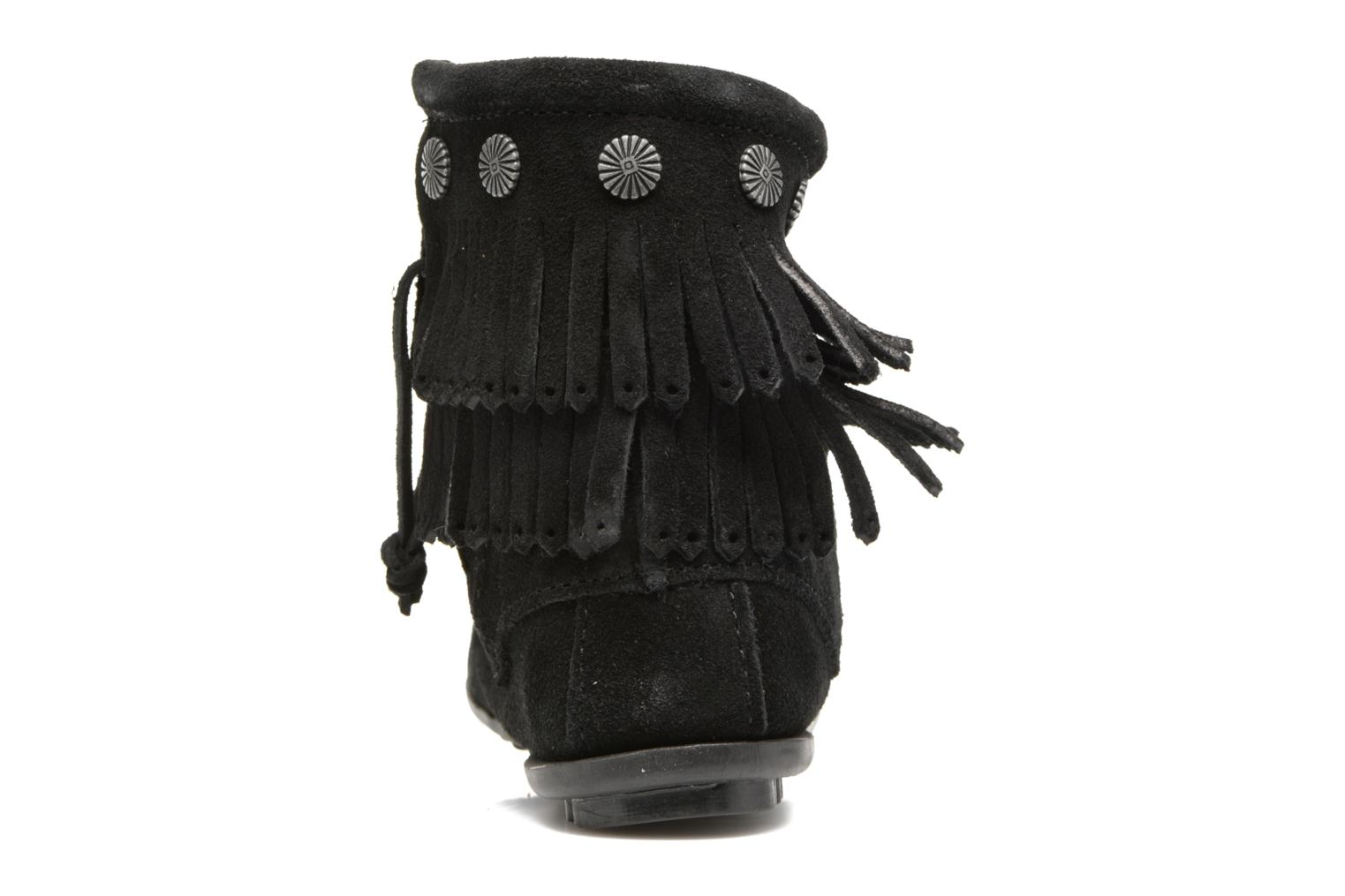 Ankle boots Minnetonka Double Fringe side zip boot Black view from the right