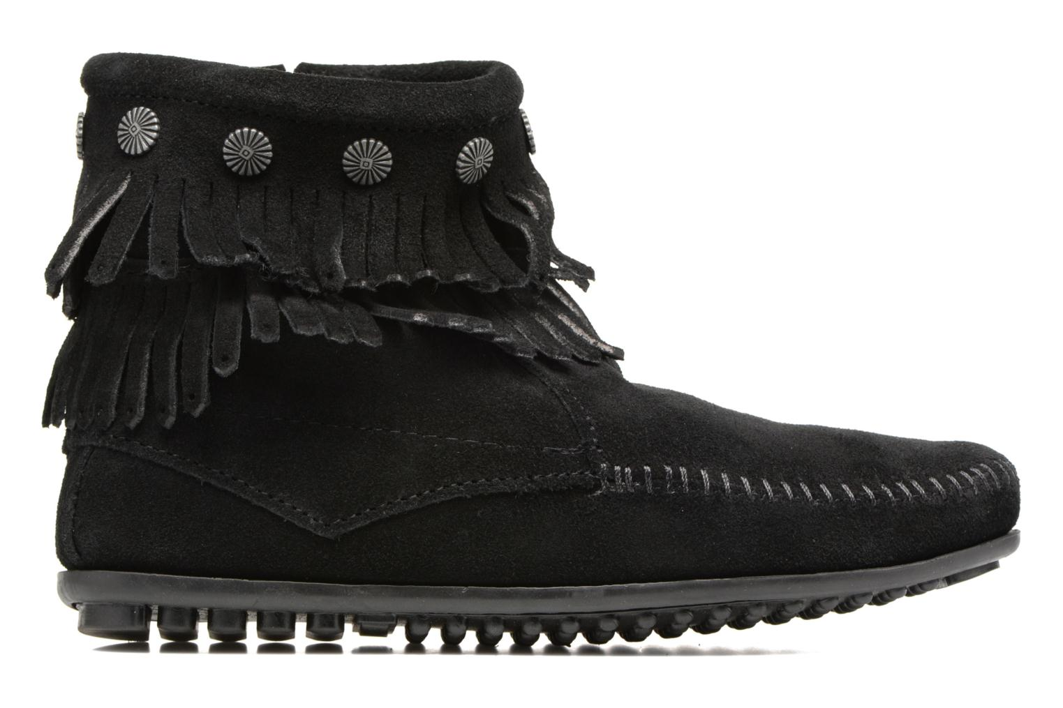 Ankle boots Minnetonka Double Fringe side zip boot Black back view