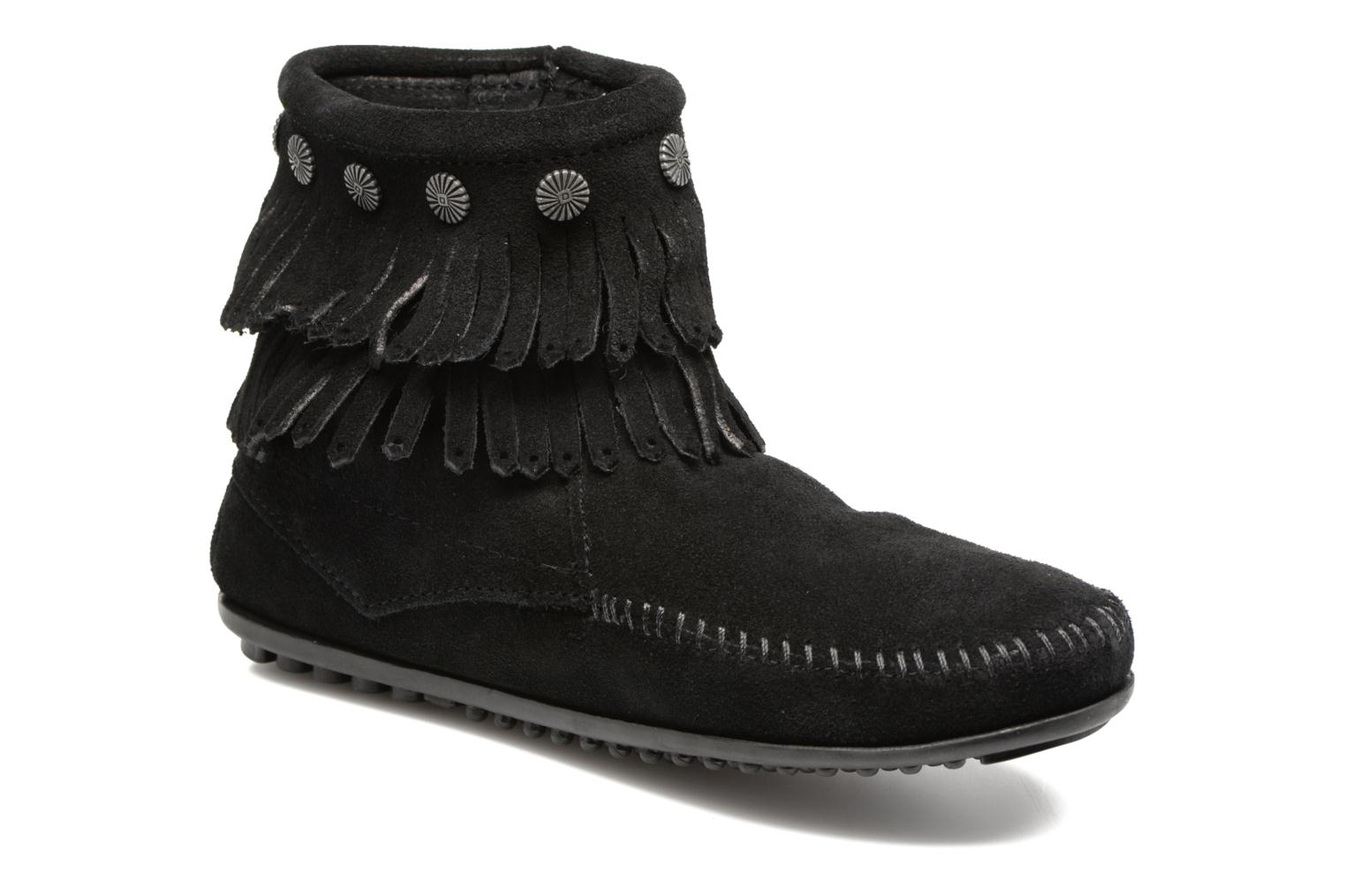 Ankle boots Minnetonka Double Fringe side zip boot Black detailed view/ Pair view