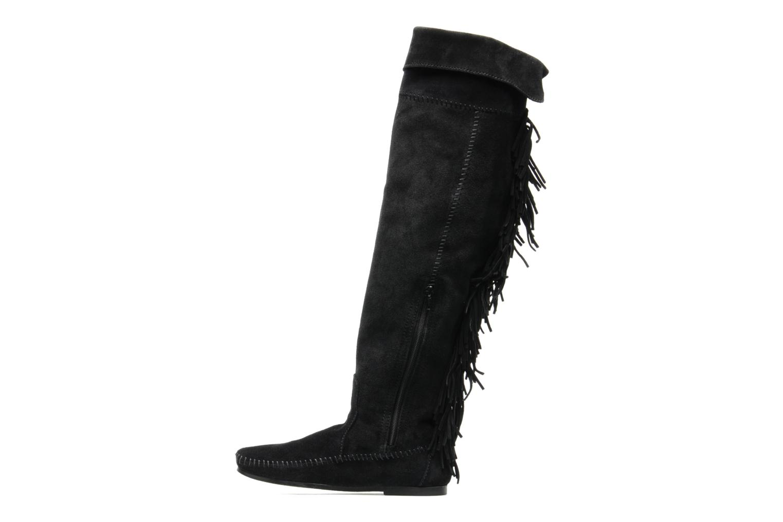 Over the Knee Fringe Boot Black Suede