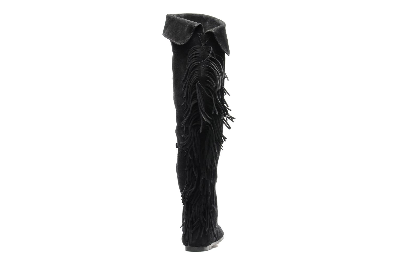 Over the Knee Fringe Boot Black Suede