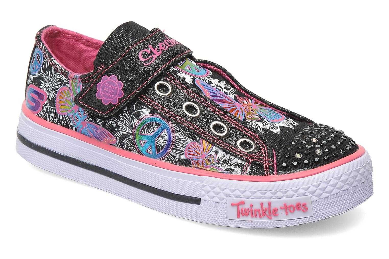 Sneakers Skechers Shuffles-Glow Girl Zwart detail