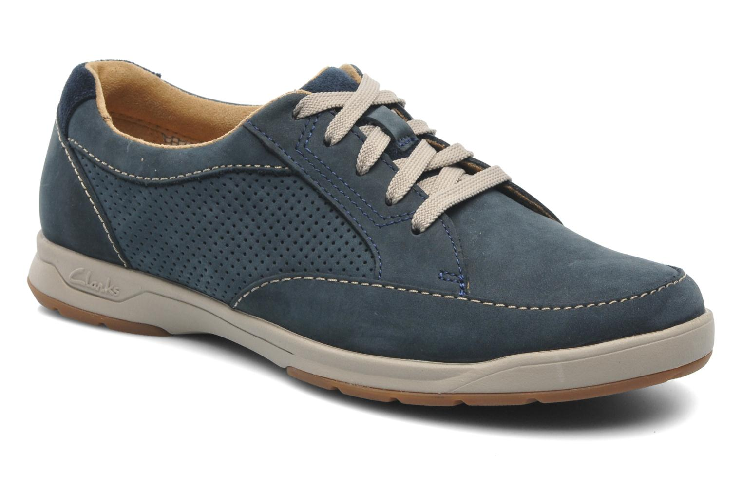 Baskets Clarks Unstructured Stafford Park5 Bleu vue détail/paire