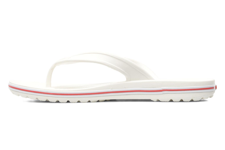 Zehensandalen Crocs Crocband Flip Low Profile weiß ansicht von vorne