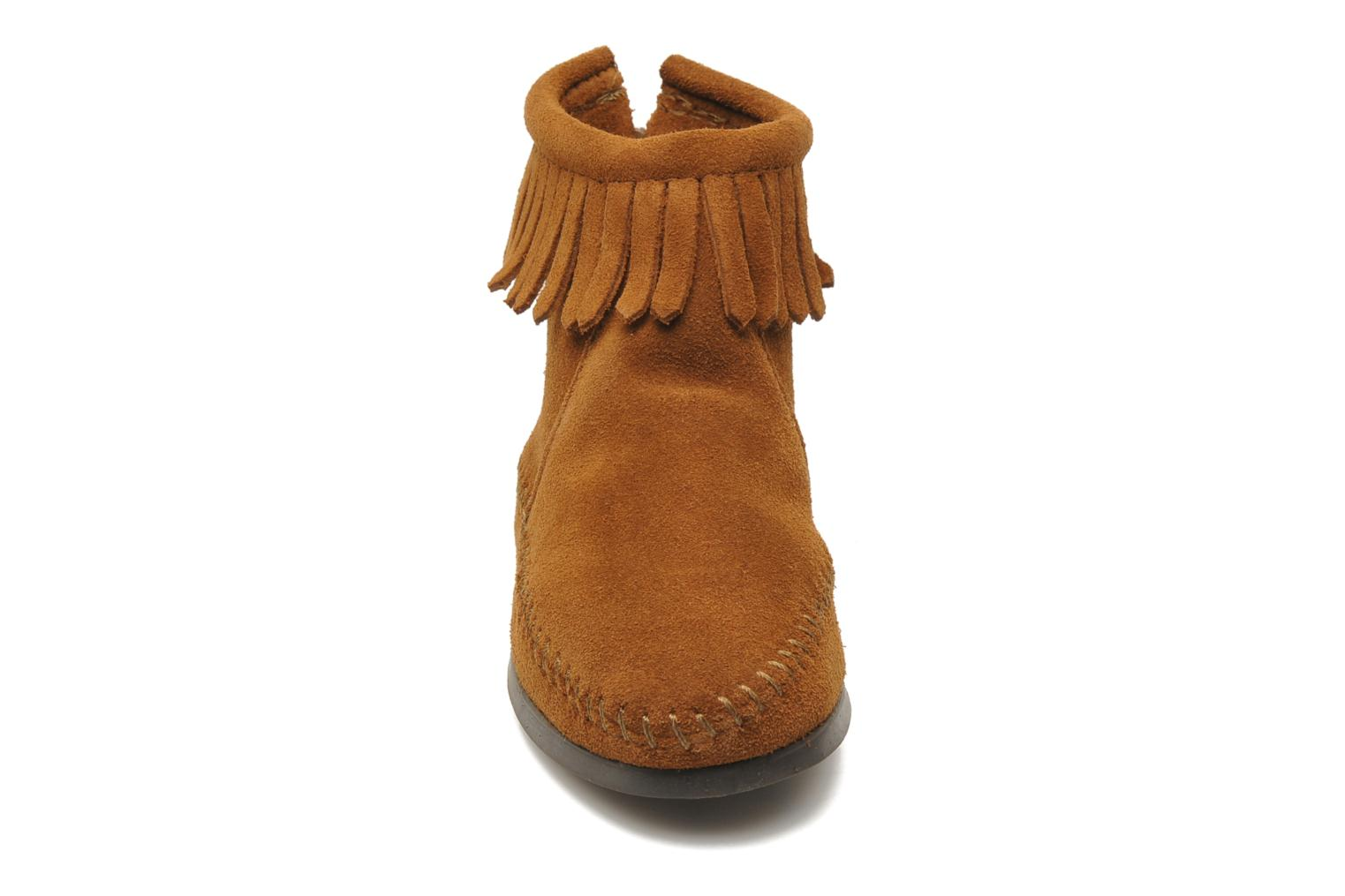 Ankle boots Minnetonka Back Zip bootie G Brown model view