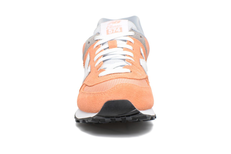 Sneaker New Balance WL574 orange schuhe getragen