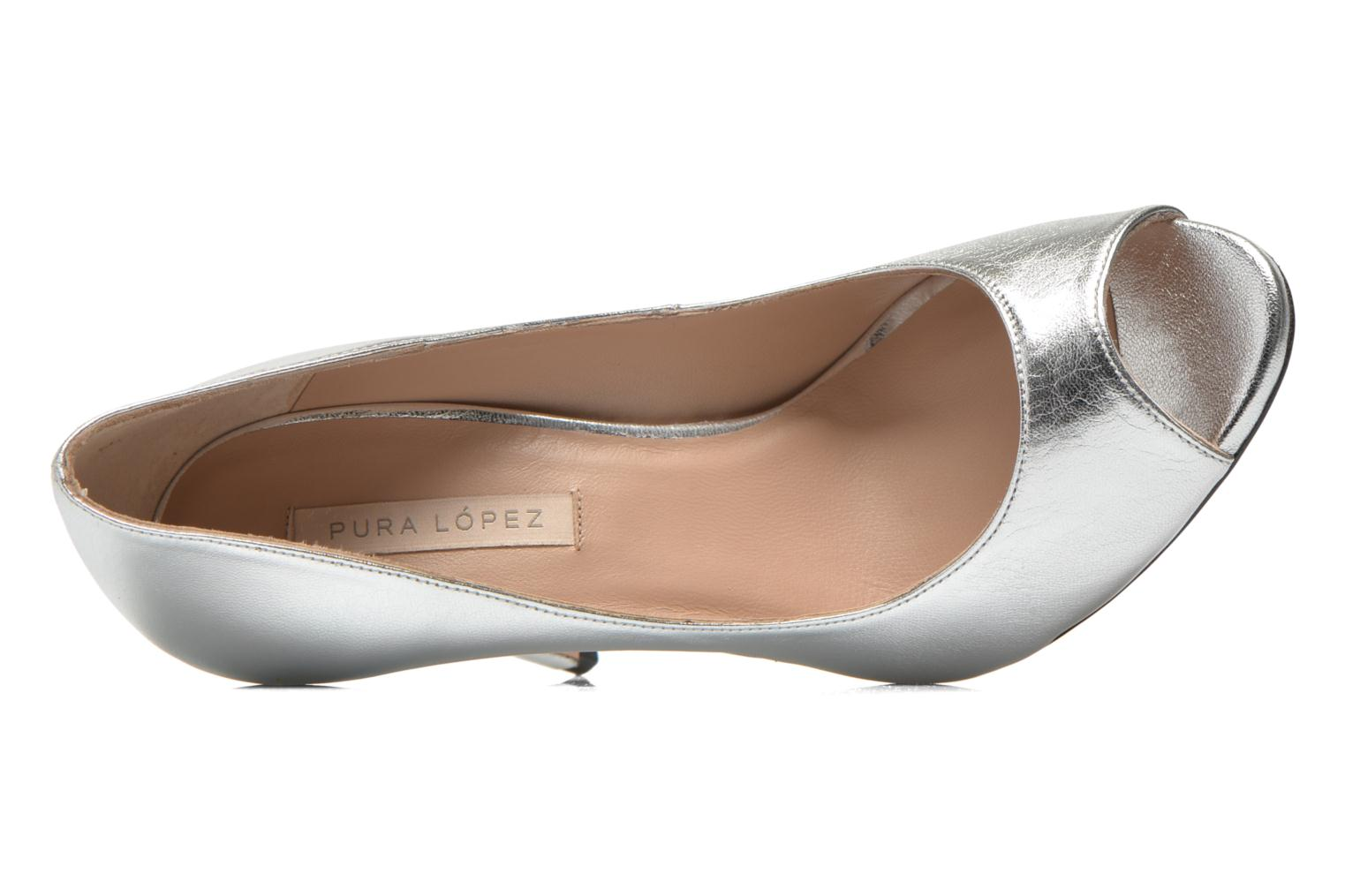 High heels Pura Lopez Gabriella Silver view from the left
