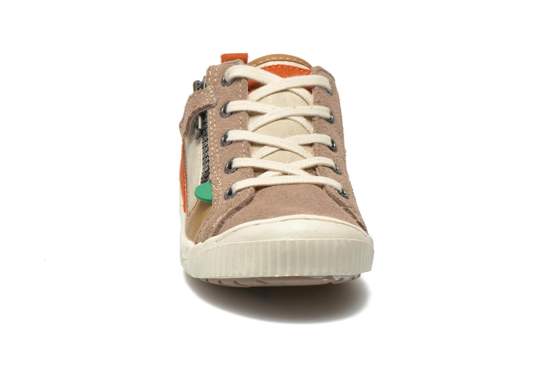 Sneaker Kickers Zigzaguer beige schuhe getragen