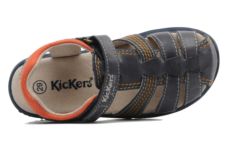 Sandalen Kickers Platinium blau ansicht von links