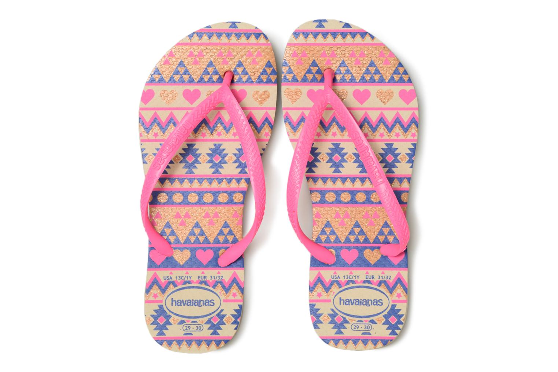 Tongs Havaianas Kids Slim Fashion Rose vue portées chaussures