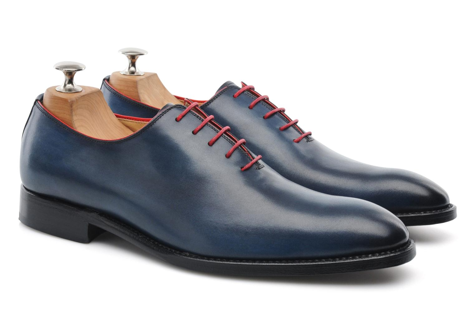Chaussures à lacets Marvin&Co Luxe Wade - Cousu Goodyear Bleu vue 3/4