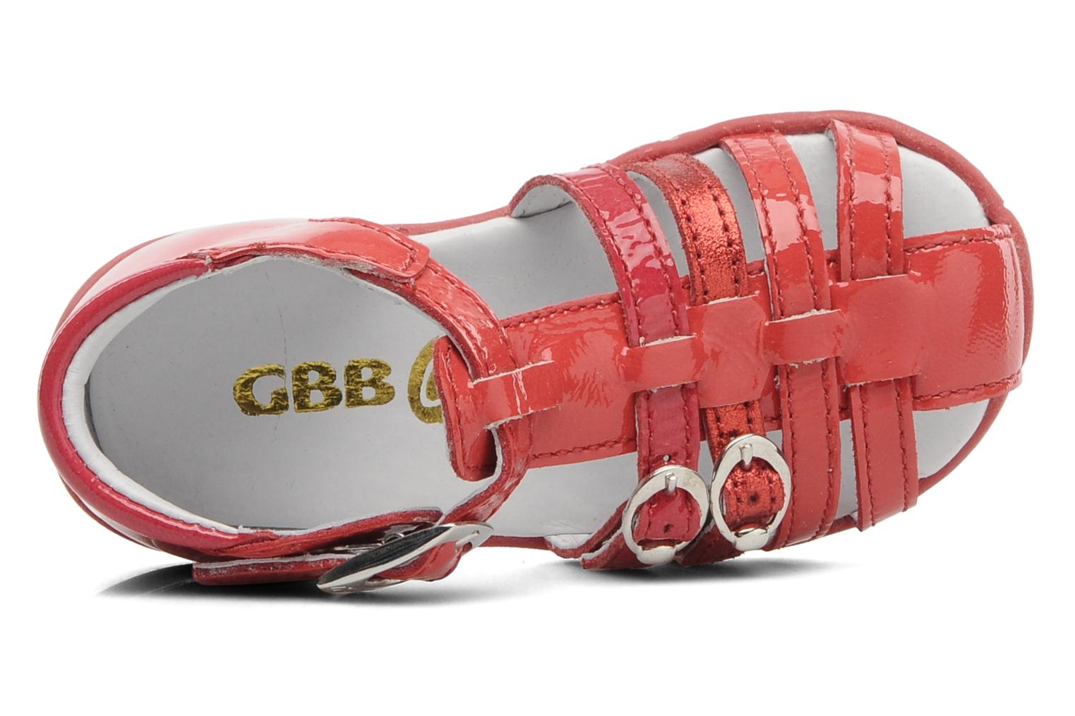 Sandals GBB Gentiane Red view from the left