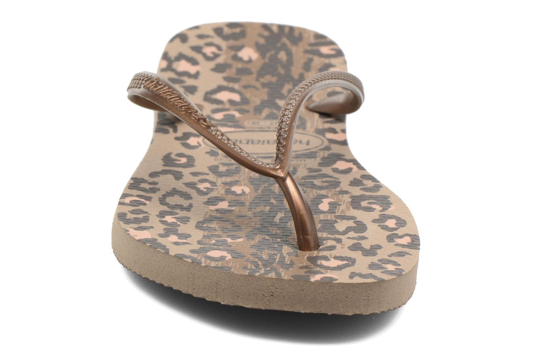 Tongs Havaianas Slim Animals Or et bronze vue portées chaussures